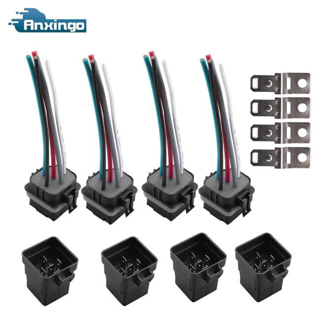 4 Set 12V 40 amp 5 pin 5 wire Relay Plug Socket Heavy Duty 40A Waterproof  Auto