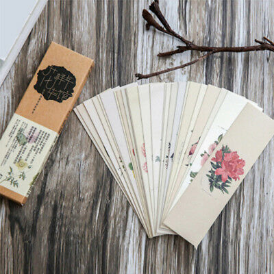 30pcs/lot Chinese Style Paper Bookmark Vintage Retro Flower Book Mark For School