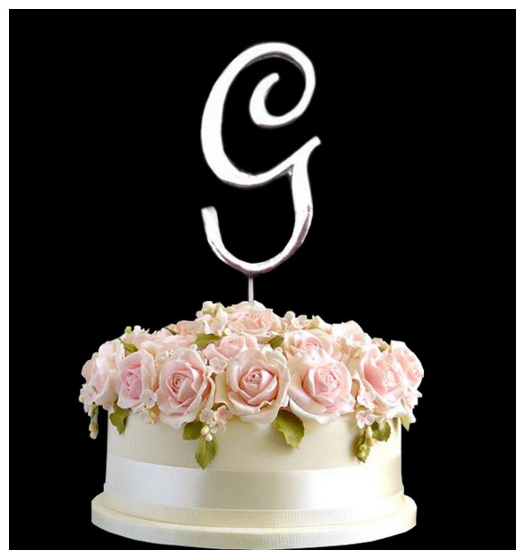 Metallic Silver Birthday Anniversary Cake Topper Letter Symbol Pick