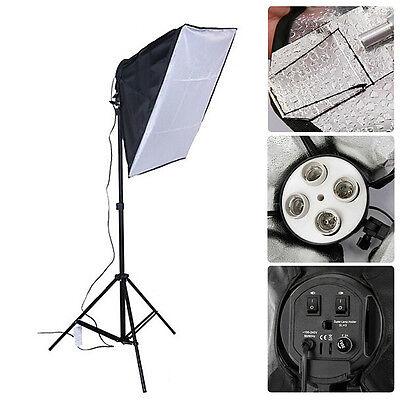 1X Photo Video Kits 4 Socket E27 Lamp Head Holder &1 Lighting Softbox & 3 Plugs
