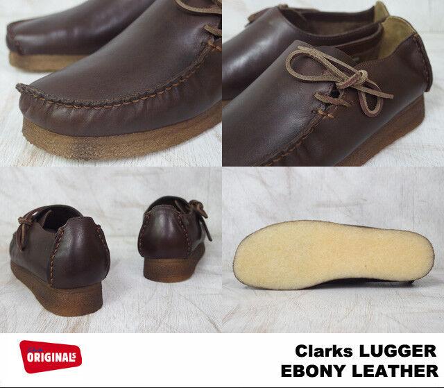 Clarks Originaux Hommes  Wallabees Lougre Ébène Lea  UK 7,8,9 G