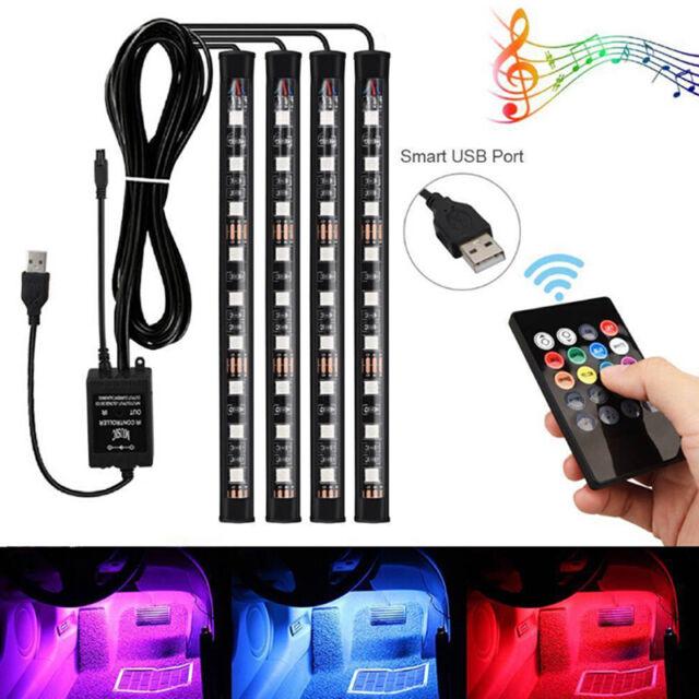 4x 9LED RGB Car Interior Atmosphere Footwell Strip Light USB ChargerDecor LampLI