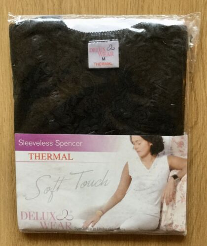 Ladies Thermal Sleeveless French Neck Spencer Medium Black.