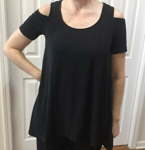 NWT-Jones-New-York-Women-s-Open-Cold-Shoulder-Black-Blouse-Top-Sz-M-MSRP-49