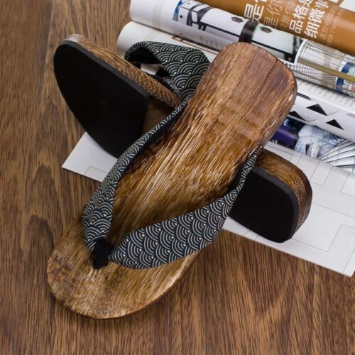 Men Summer Japan Geta Clogs Flip Flops Thong Sandals Wooden Slippers Shoes Beach