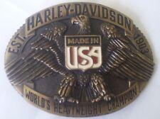 New Vtg. Harley Davidson Belt Buckle Raintree - World's Heavyweight Champion