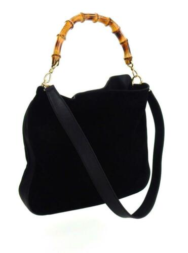 GUCCI GG Bamboo Handle Black Suede Leather Shoulde