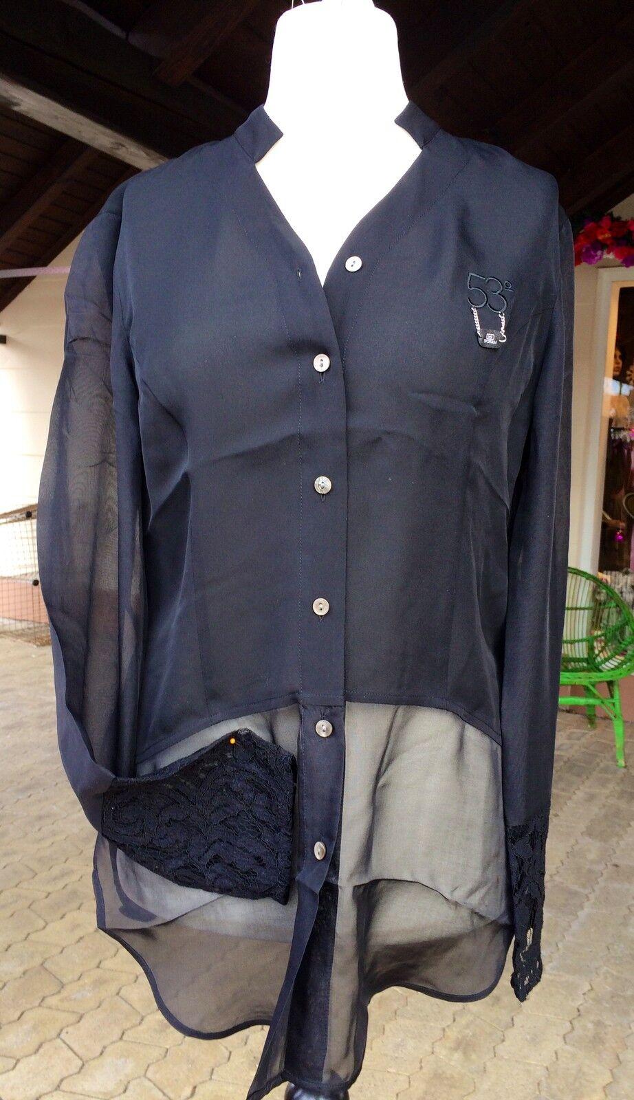Sportalm Blause, schwarz, Blossom Grün, Niley, Gr. 38, Shirt, Spitze, Seide
