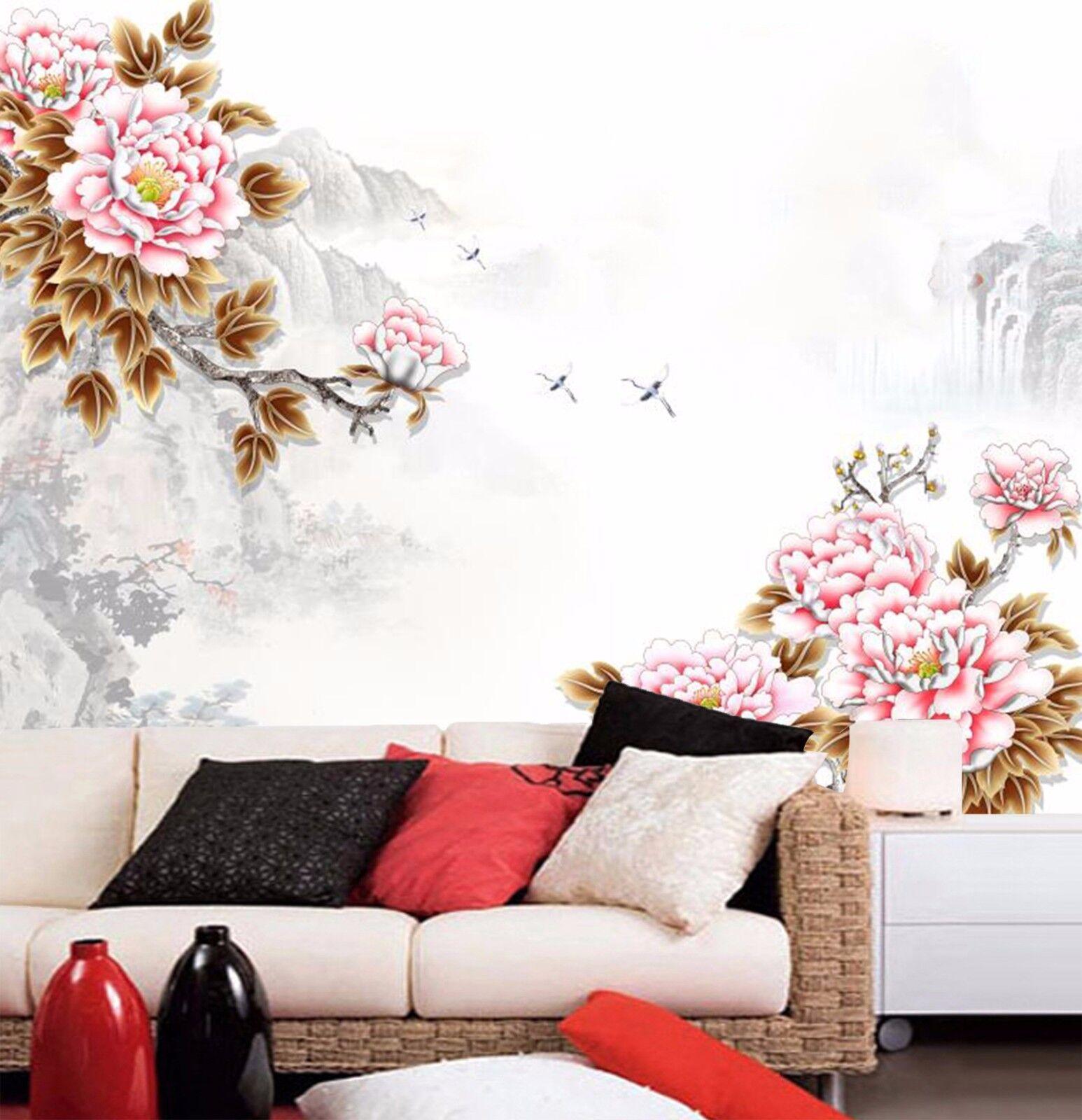 3D Hill Bird Peony 8 Wall Paper Murals Wall Print Wall Wallpaper Mural AU Summer