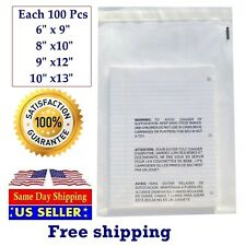 400 Clear Combo Suffocation Warning Poly Bags 6x9 8x10 9x12 10x13 St Shipmailers