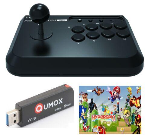 Hori Fight stick joypad joystick + Hyperspin 64gb usb arcade mame console games