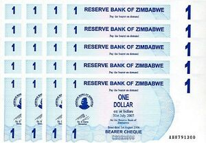 AB-Prefix 1 dollar Zimbabwe UNC 2006 P-37