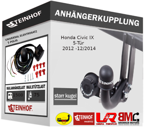 Anhängerkupplung Starr AHK für Honda Civic IX 5-Tür 2012-2014 E-SATZ 7-p