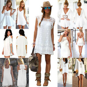 Damen-Weiss-Sommer-Kleid-Minikleid-Strandkleid-Cocktailkleid-Partykleid-Gr-34-46
