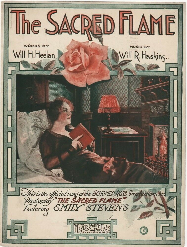 The SacROT Flame, The SacROT Flame; RARE Lost Movie sheet music, 1920
