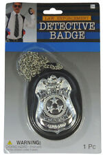 Forum Deluxe Undercover Detective Costume 4in Badge on 30in Chain Silver Black