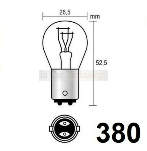 BAY15D 12V Autolamps /'E/' Approval Stop /& Tail Light Bulbs P21//5W 4x Clear 380
