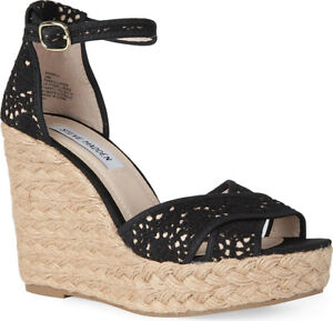 b5857d4d2ac Details about STEVE MADDEN Women's Black Marrvil Crochet Wedges Size 8  Retail $150