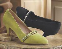 Womens Midnight Velvet Black Rhinestone Trim Pumps Heels Shoes Size 7.5w