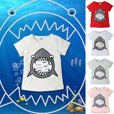 Children Toddler Kid Boy Girl Shark Short Sleeve Cartoon Print T-shirt Top Shirt