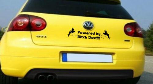 Powered by Bitch Dust Tinkerbell Vinyl sticker//decal car bumper//window art!!!!