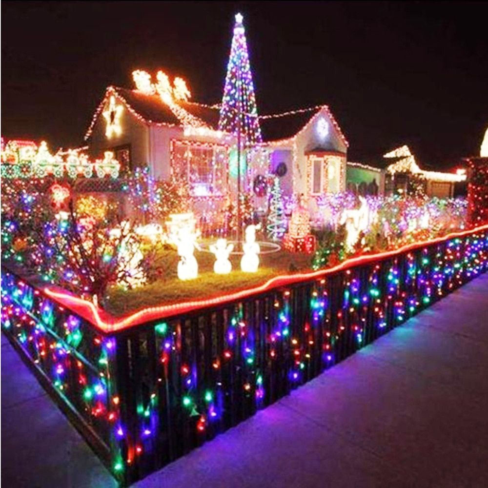 Christmas Tree LED String Lights Plug Waterproof For Party Outdoor Holiday Decor