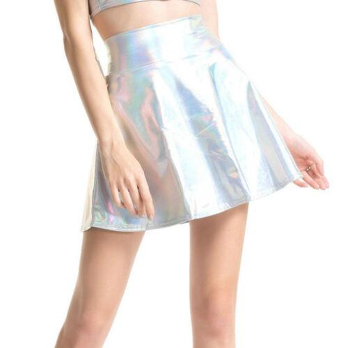 Women Girl Metallic Shiny Short Mini Skirt Party Club PU Dance High Waist Silver
