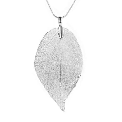 Silver Leaf Pendant Necklace Womens Jewellery Gift