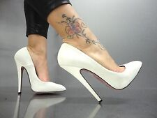 MORI MADE IN ITALY NEW HIGH SKY HEELS PUMPS SCHUHE SHOES LEATHER WHITE BIANCO 42