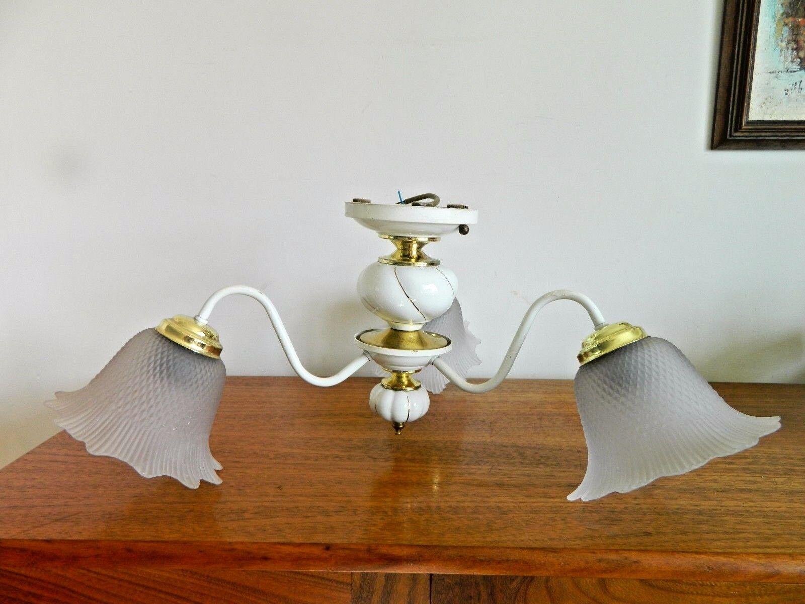 Superbe rÉtro plafonnier 3 fixation bras fixation 3 lampe verre de