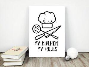 Dettagli su Stampe da cucina/immagini/HOME DECOR/da Cucina Wall Art-Bianco-  mostra il titolo originale