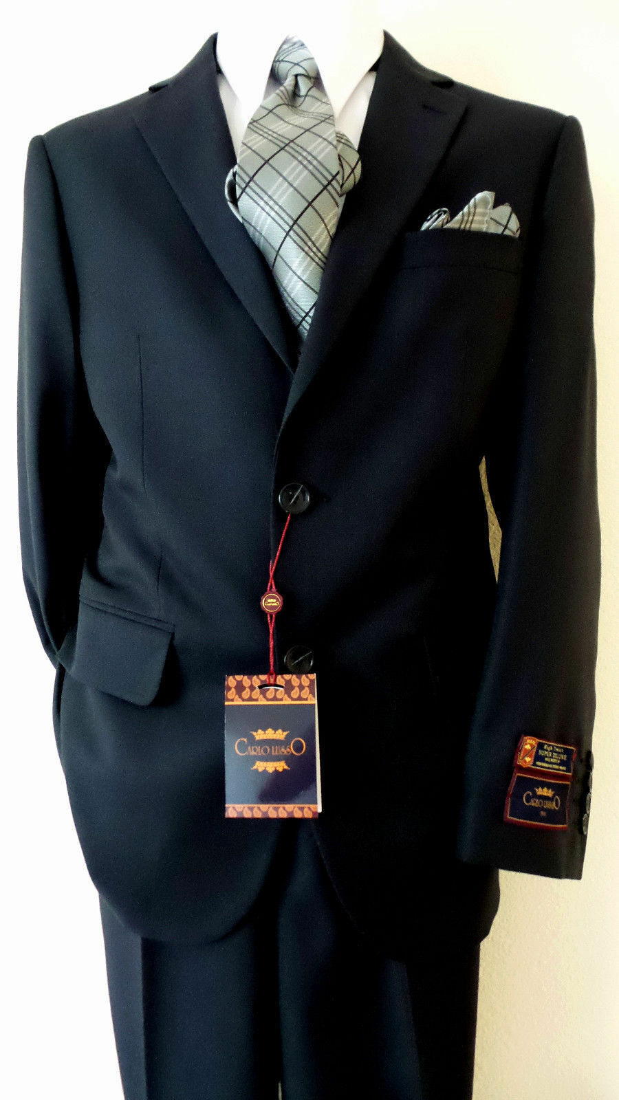 CARLO LUSSO Solid Dark Navy bluee 40S 34Euro Slm 2 Buttons Men's Suit Flat Front