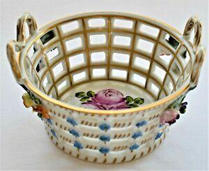 Antique-Dresden-Pierced-Floral-Encrusted-Porcelain-Basket-Tray-9cm-diameter