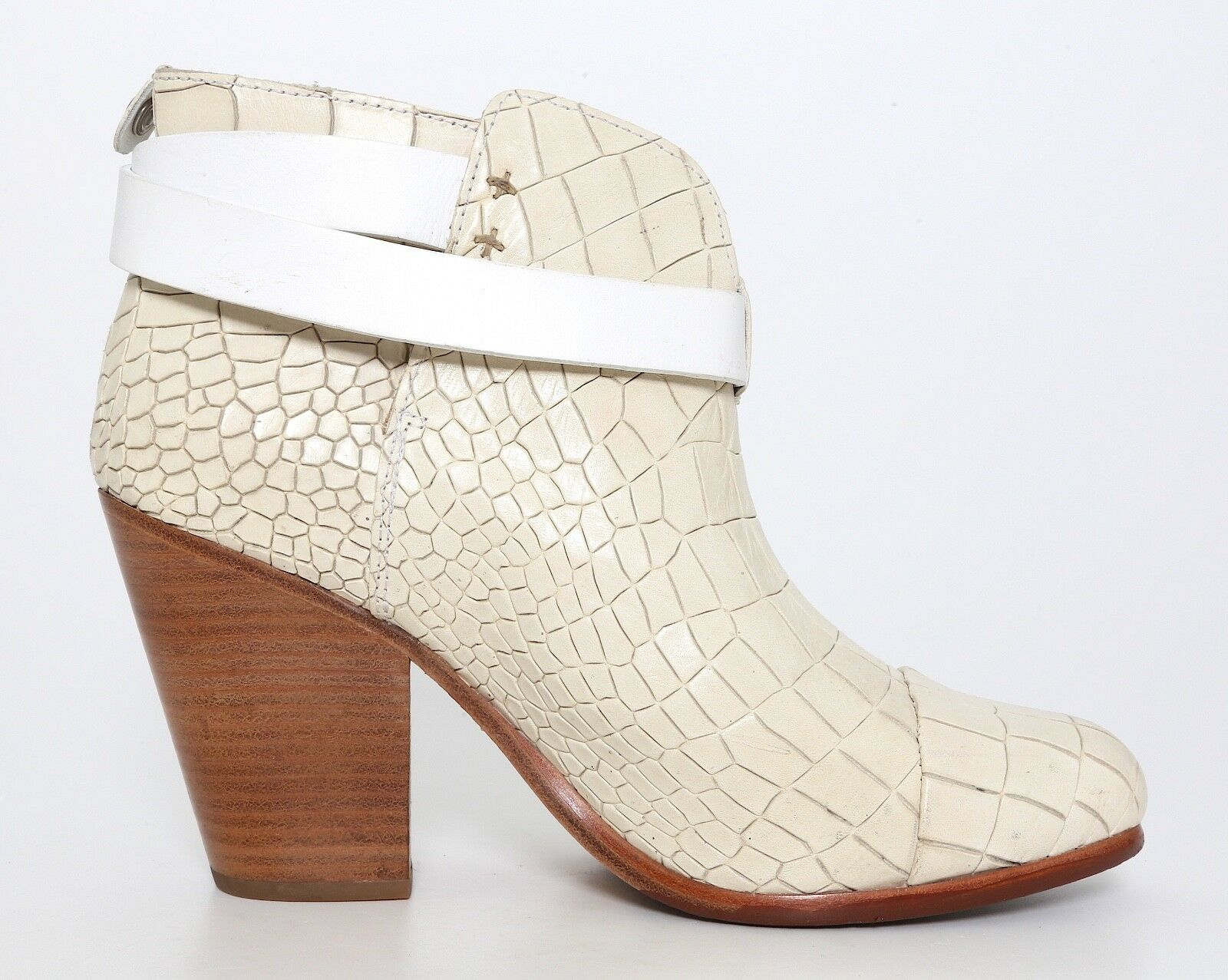 Rag & Bone Harrow Harrow Harrow Crocodile Embossed Ankle Boots Ivory Women Sz 38 EUR 5026 90f7f5