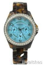 New Fossil Women Riley Multi-Function Tortoise Crystals Watch 38mm ES4012 $115