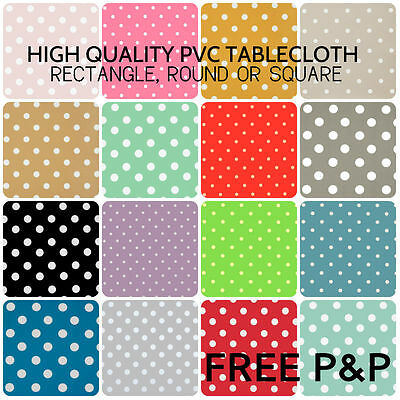 POLKA DOT SPOTS PVC TABLECLOTH WIPE CLEAN OILCLOTH VINYL FABRIC - 140CM WIDE