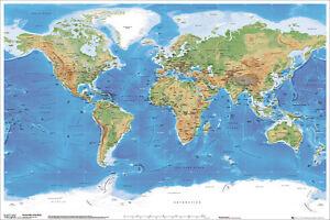 Poster Cartina Geografica Mondo.Poster Educativi E Scolastici Mappa Geografica Del Mondo Ebay