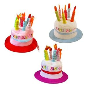 Happy Birthday Cake Hat With Candles 3 Assorted Designs Party Gift