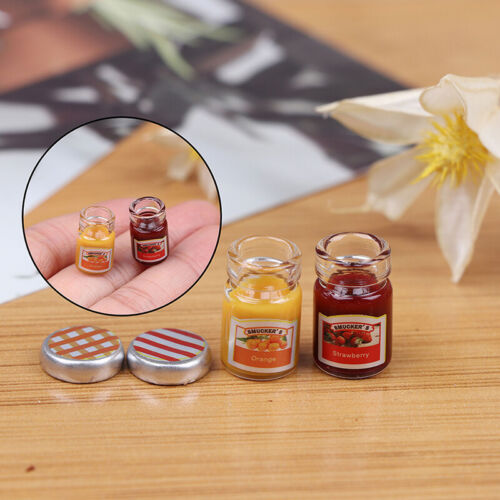 2PCS 1:12 Dollhouse Miniature Food Mini Strawberry Sauce Jam Honey Food  po