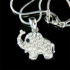 w Swarovski Crystal ~Holy Elephant~ Lucky Wish Good Luck Charm Pendant Necklace