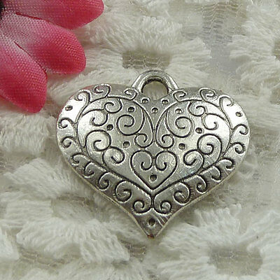 Free Ship 90 pieces Antique silver heart charms 27x27mm #940