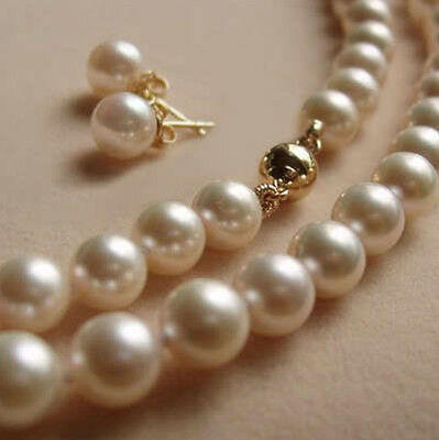 8MM White Akoya shell Pearl Necklace +Earring AAA 18""