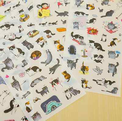6 pcs/lot cute cat PVC paper sticker diy planner decorative sticker for Kids US