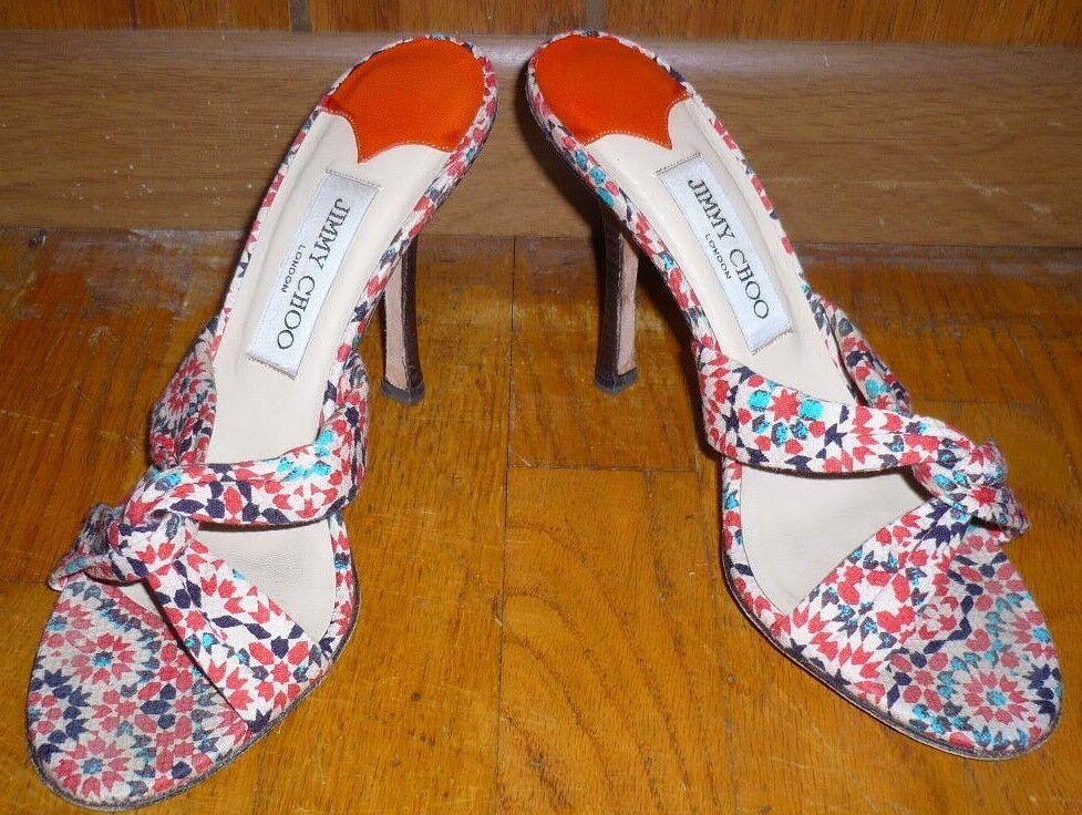 JIMMY CHOO orange & Torquoise bluee Floral Print Fabric High Heel Sandals  38
