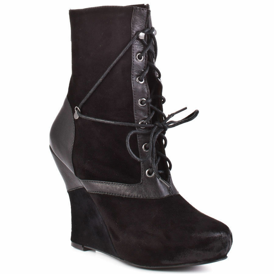 New Bacio61 Women's Natura black leather wedge  Boots sz 8  (Msr $220)