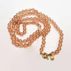 J-Crew-Pink-Peach-Glass-Bead-amp-Ribbon-Necklace-35-034