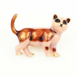 Women-039-s-Enamel-Crystal-Cute-Cat-Kitten-Charm-Betsey-Johnson-Animal-Brooch-Pin