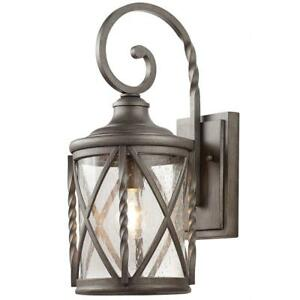 Details About Home Decorators Collection 1 Light Antique Pewter Outdoor Wall Lantern With Seed