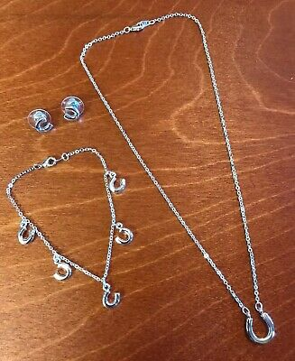 Ex Argos 3 Piece Lucky Horseshoe Necklace Bracelet Earrings Set Rrp 19 99 Ebay