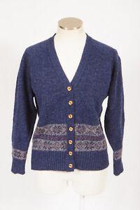 Vtg-PENDLETON-Fair-Isle-Blue-Wool-Knit-Cardigan-Sweater-Jumper-Shirt-Womens-L